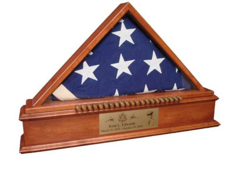 American Flag Display Case with Base Urn